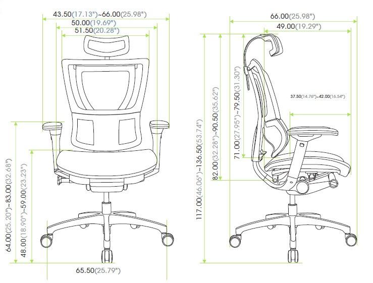 Эргономичное компьютерное кресло Сomfort Seating Mirus размеры