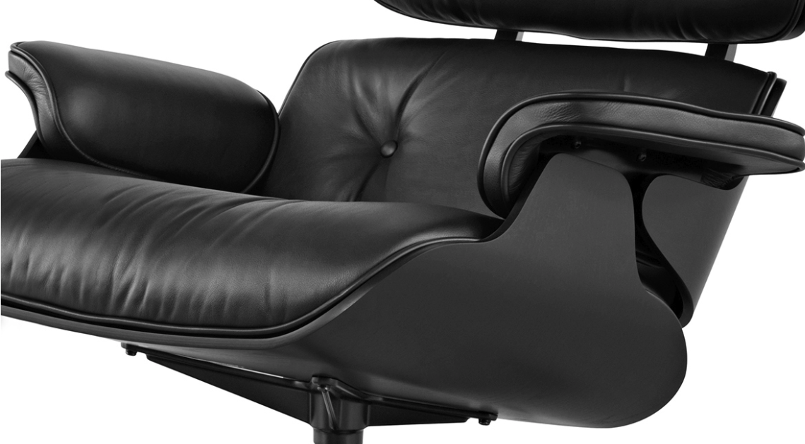Кресло Eames Style Lounge Chair & Ottoman Total Black Limited Edition особенности