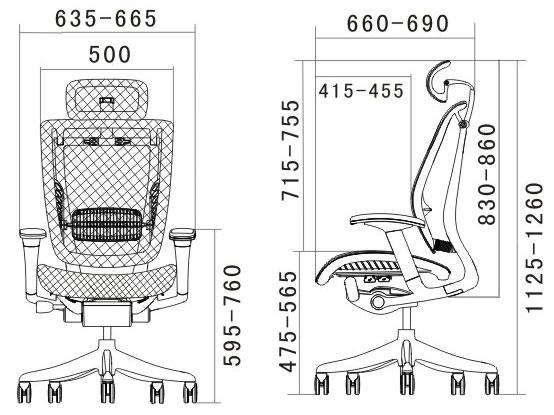 Эргономичное кожаное кресло Expert Spring размеры